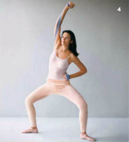 Stretch one body side by putting arms above the head