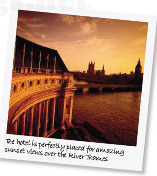 The hotel is pecfectly placed for amazing sunset views over the River Thames