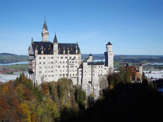 The Neuschwanstein Castle was built during the 19th century on a hill in Bavaria, Germany