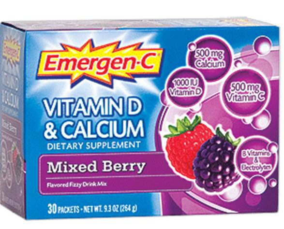 Emergen-C Vitamin D and Calcium ($27.5 for 30 sachets; nutritioncentre.co.uk)