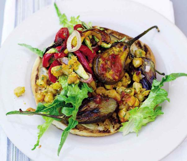 Spicy grilled vegetables with chickpea salad