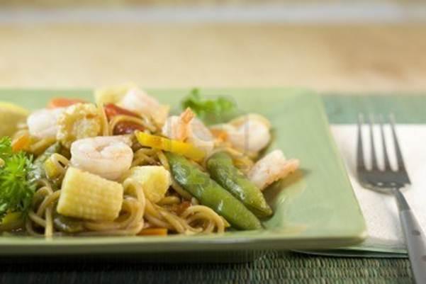 Description: Szechuan-style prawns with rice noodles