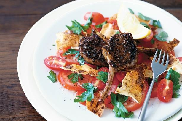 Description: Spiced lamb cutlets with tomato parsley salad