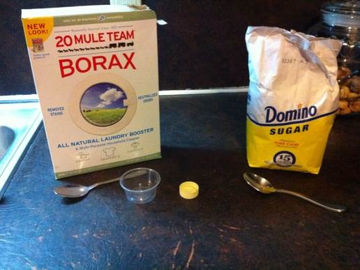 Description: Borax and sugar is a good combination to get rid of the ants.