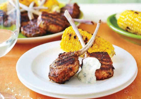 Description: Spicy cajun-crusted lamb cutlets with coriander yoghurt