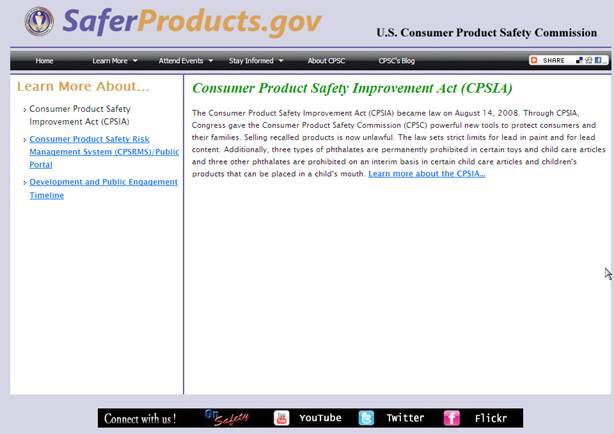 SaferProducts.gov, a CPSC website where consumers can report problems