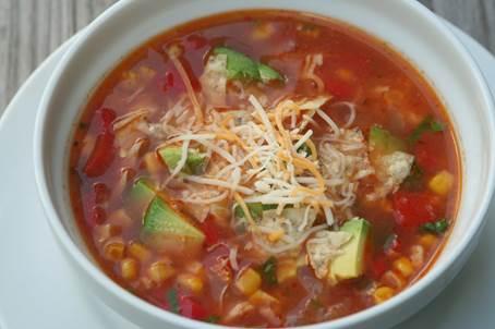 Tortilla soup with avocado