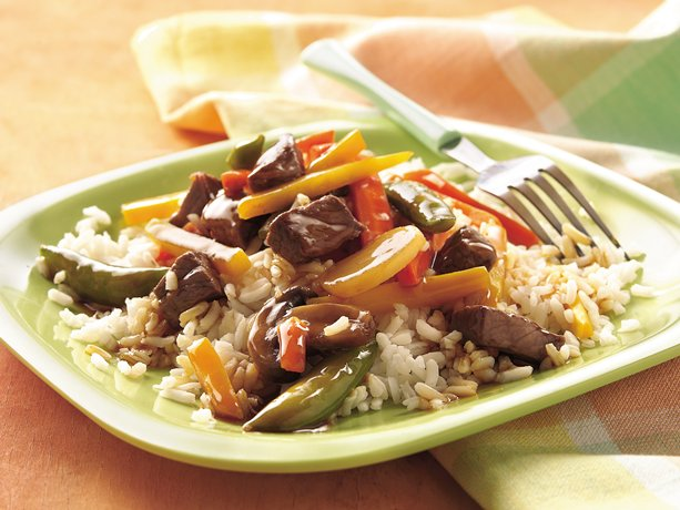 Description: Description: Beef & Veg Stir Fry + Brown Rice (1410kJ, 17g fat)