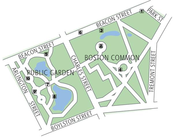 map of boston common park Boston S Top 10 Boston Common Public Garden map of boston common park