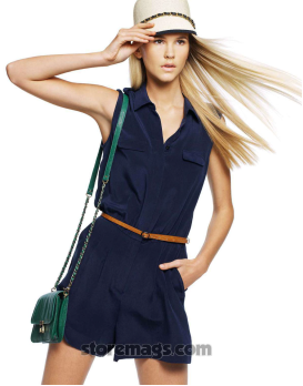 Description: Belted silk jumpsuit, $229, and bag, $99, both by Marcs; cap, $24.95, by Condura.