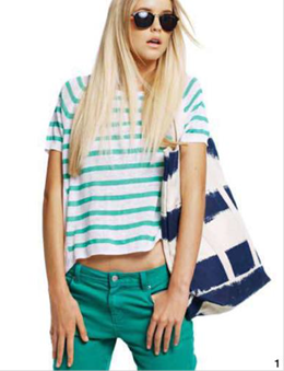 Description: 1. T-shirt, $280, by Jac+Jack; jeans, $79.95, and bag, $49.95, both by Sussan; sunglasses, $49.95, by Mink Pink
