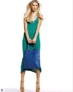 Description: 2. Knit dress, $229, by This Is Genevieve; shoes, $89.99, by Betts; bag, $79.95, by Sportscaraft.