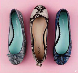 Description: From left: Ballet flat, $175, by Sambag; ballet flat, $199, by Saba; ballet flats, $175, by Sambag.