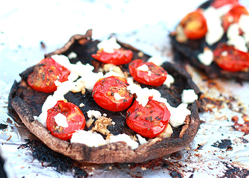 2 grilled field mushrooms stuffed with 50g crumbled feta cheese and fresh, chopped mint.