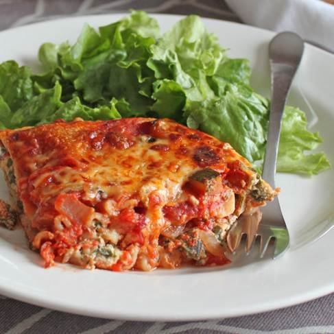 Vegetarian lasagne served with a mixed salad.