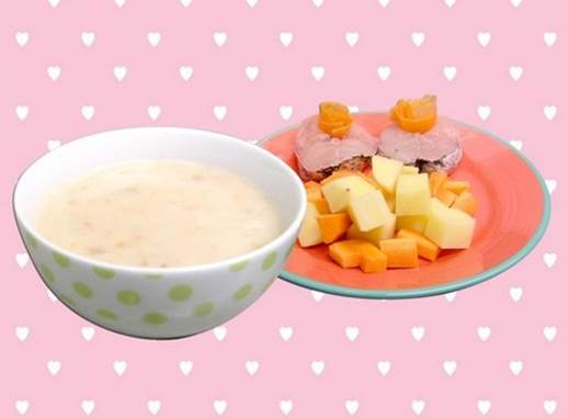 Snakehead fish, potatoes and carrots gruel looks very delicious.