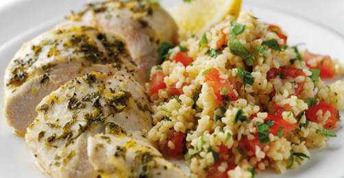 ... lemon chicken with tabbouleh, Spicy carrot and coriander soup