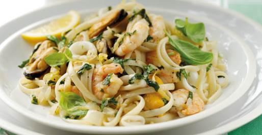 Basil, seafood and lemon linguine