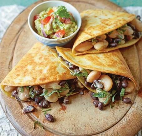 Black & white bean quesadillas with guacamole
