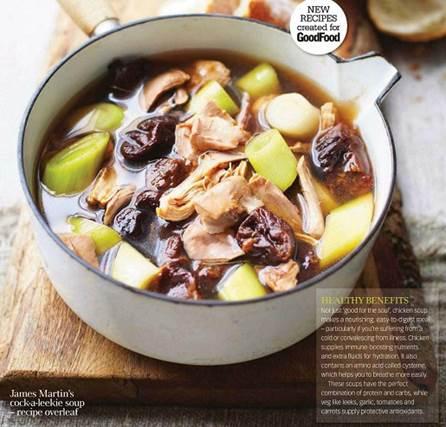 James Martin's cock-a-leekie soup