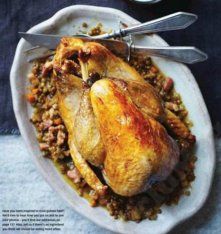 Pot-roast guinea fowl with lentils, Sherry & bacon