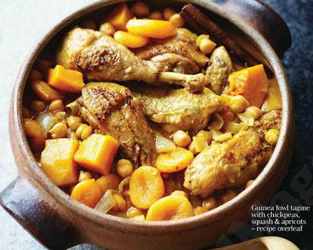 Guinea fowl tagine with chickpeas, squash & apricots