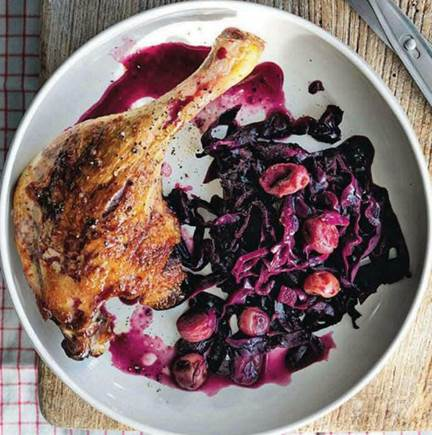 Spiced duck pot roast with red cabbage & grapes