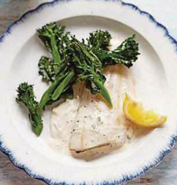 Baked fish with mustard sauce