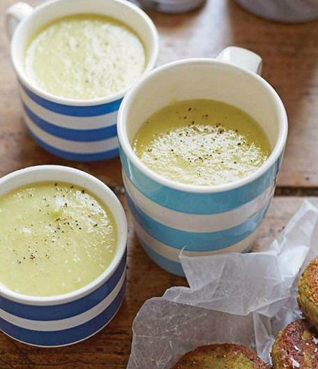 Celery & potato soup with chickpea fritters