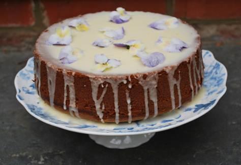 Description: Vanilla cupcakes with crystallised violas