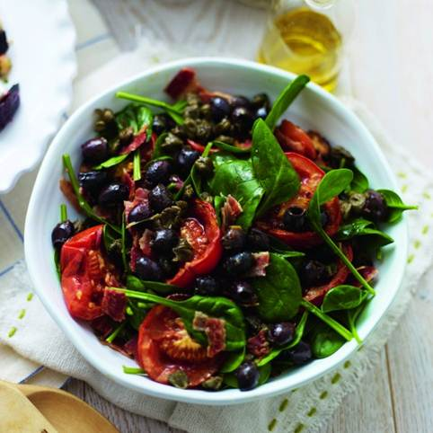 Description: Slow-roasted tomato, bacon and spinach salad