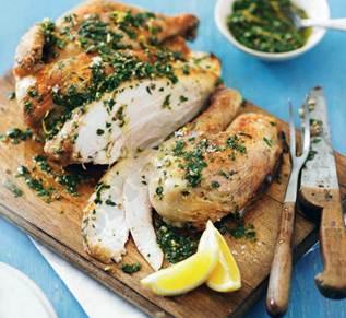 Description: Description: Spatchcock chicken with gremolata