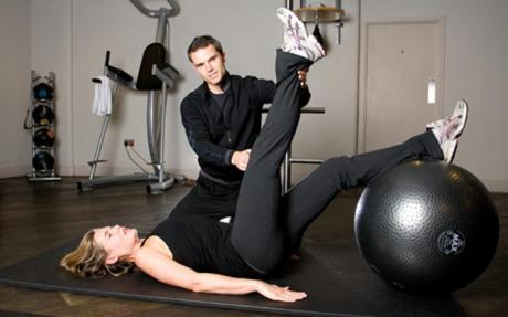 Description: Description: Working with a gym ball can tone your entire body