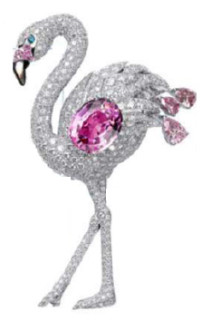 Description: Precious plumage fashioned from diamonds and sapphires