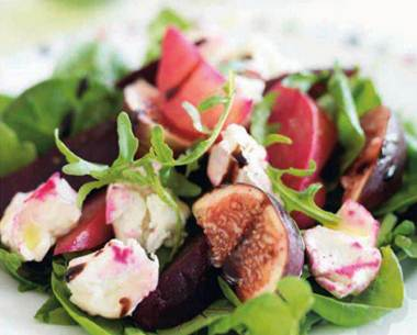 Description: Fig, roasted beetroot and goats' cheese salad