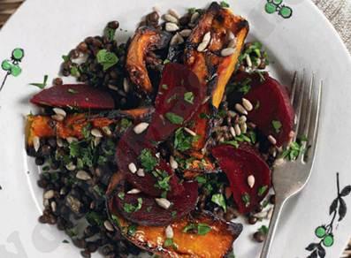 Description: Warm puy lentil, butternut and beetroot salad