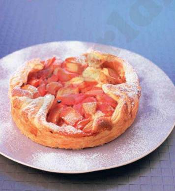 Description: Rhubarb and almond tart
