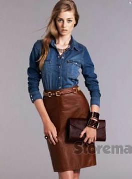 Description: 3. Denim shirt, $69.95, by Zara; leather skirt, $299, by Sportscraft; belt, $130, by EstiloEmporio; necklace, $169, by Mezi; bracelets, $59 each by Saba; ring, $115, by Elke; clutch, $149.95, by Witchery.