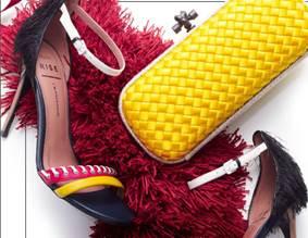 Description: Shoes, $169.95, by ALDO RISE x JW Anderson; stole, $1,150, by Burberry; clutch, $1,860, by Bottega Veneta