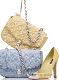 Description: Bags, $6,700 each, and shoes, $1,120, all by Louis Vuitton.