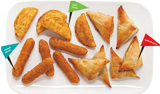 Our trained tasters tried six spanakopites (aka spinach pies or triangles), six mozzarella sticks, and six mini tacos or taquitos (their tortilla is rolled like a cigar).