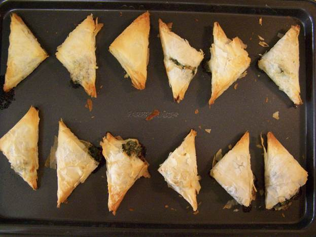 The spanakopita appetizers are the tastiest and have 75 calories or fewer per piece