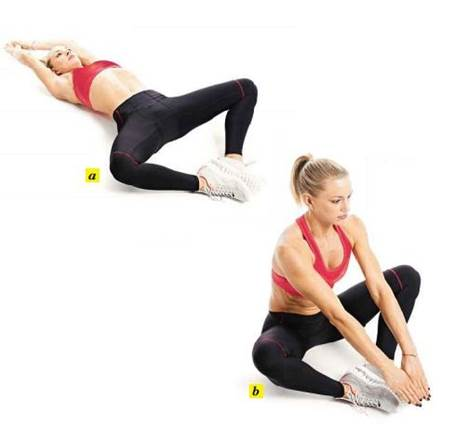 To increase your power, speed up or hold a weight against your chest as your sit up.