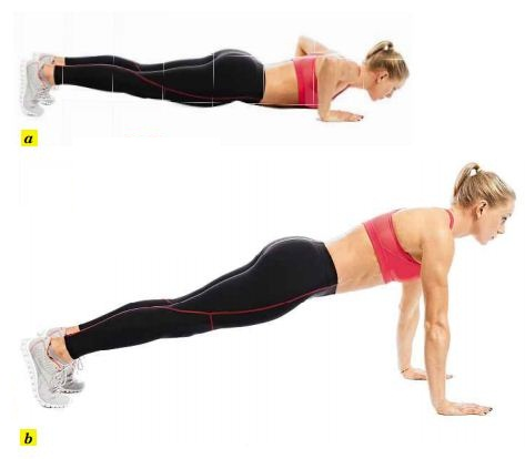 Push-up pros can put their feet on a box or bench and do an elevated push-up.
