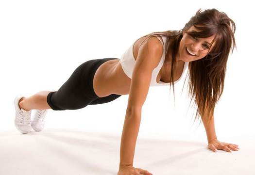 Take a pushup position with hands shoulder- width apart. arms straight.