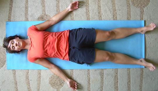 The 'Corpse Pose' will bring away your stress.