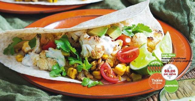 Description: Roasted cauliflower tacos with spicy yoghurt