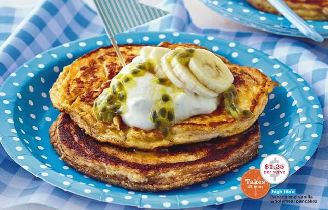 Description: Banana and vanilla whole meal pancakes