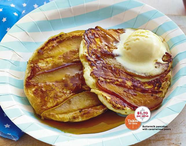 Description: Buttermilk pancakes with caramelised pears