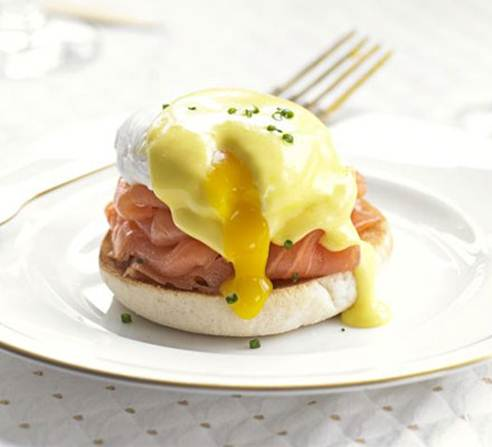Description: Top with poached eggs and cover with the sauce.